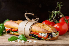 Vegetarian baguette sandwich Royalty Free Stock Image