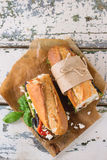 Vegetarian baguette sandwich Royalty Free Stock Photography