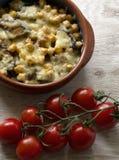 Vegetarian bakad pudding arkivfoto