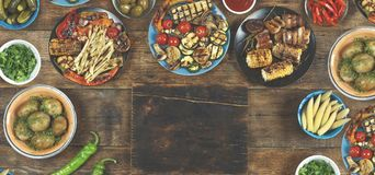 Vegetarian barbecue dishes, grilled vegetables. Concept: Picnic stock photography