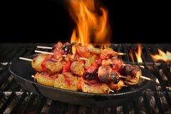 Vegetarian BBQ. Vegetable Shish Kebabs On Hot Flaming Grill, Clo Royalty Free Stock Photos