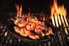 Vegetarian BBQ. Vegetable Shish Kebabs On Hot Flaming Grill, Clo Royalty Free Stock Images