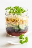 Vegetarian bean sweetcorn cheese salad in mason jar Stock Photos