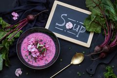 Vegetarian Beetroot soup with the flowers. Top view. Copy space. Vegetarian Beetroot soup with the flowers on the black background. Fresh Beetroot with leafs Royalty Free Stock Photos