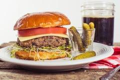 Vegetarian black bean cheese burger Stock Photos