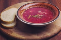 Vegetarian borscht with string beans. Toned stock photography