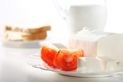 Vegetarian breakfast with feta cheese Royalty Free Stock Photo