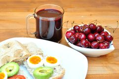 Vegetarian breakfast with fresh cherries Royalty Free Stock Images