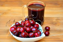 Vegetarian breakfast with fresh cherries Royalty Free Stock Image