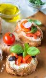 Vegetarian bruschetta Royalty Free Stock Images