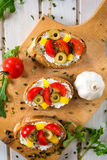 Vegetarian bruschetta Royalty Free Stock Image
