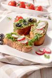 Vegetarian bruschettas Royalty Free Stock Photos