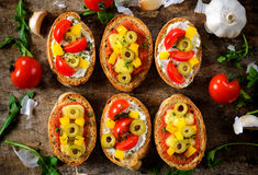 Vegetarian bruschettas Royalty Free Stock Image