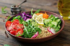 Vegetarian Buddha bowl with quinoa and fresh vegetables. Royalty Free Stock Photography