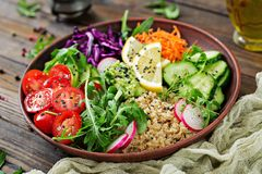 Vegetarian Buddha bowl with quinoa and fresh vegetables. Stock Image