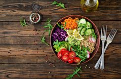 Vegetarian Buddha bowl with quinoa and fresh vegetables Stock Images
