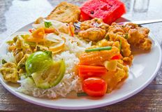 The vegetarian Buffet and  rice. Stock Images