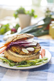 Vegetarian burger. Whit salad onion and carrot Stock Photo