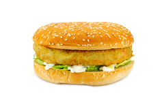 Vegetarian Burger. Breadcrumbed vegetarian or veggie burger, could also be used for chicken burger or fish burger Stock Photography