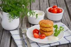 Vegetarian burger with chickpeas on white plate Stock Images