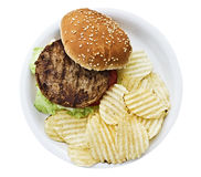 Vegetarian burger with chips. On a styrofoam plate. Isolated on a white background Royalty Free Stock Photos