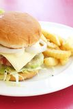 Vegetarian Burger With French Fries Royalty Free Stock Photos