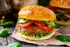 Vegetarian burger with grilled champignon Royalty Free Stock Image