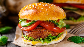 Vegetarian burger with grilled champignon Stock Image