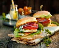 Vegetarian burger with grilled halloumi cheese, fresh lettuce, tomato, cucumber and onion with the addition of yoghurt mint sauce. Halloumi burger with fresh stock images