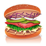 Vegetarian Burger With Salmon Fish. Illustration of a big appetizing vegetarian burger, with salmon fish fillet, salad, red beet, avocado, radish slices and Stock Photography