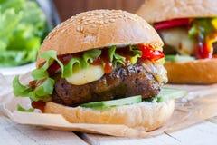 Vegetarian burger with the seitan - vegan meat Royalty Free Stock Photos