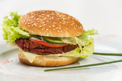 Vegetarian burger with vegetables and cutlet Royalty Free Stock Image