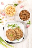 Vegetarian burger. With chickpea and lentil Stock Images
