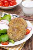 Vegetarian burgers made from lentils and buckwheat, close-up Stock Photo