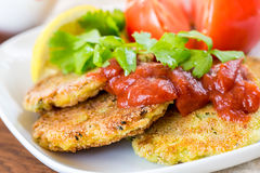 Vegetarian burgers with sauce and vegetable, selective focus Stock Photography