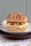 Vegetarian burgers with wholegrain buns, tofu and vegetables Stock Photo