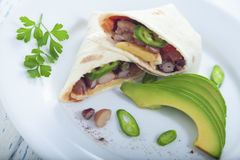 Vegetarian burrito. With beans, tomato salsa, avocado and chili Royalty Free Stock Photos