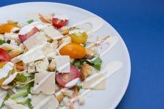 Vegetarian Caesar salad. On white plate Stock Images