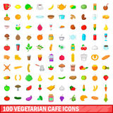 100 vegetarian cafe icons set, cartoon style. 100 vegetarian cafe icons set in cartoon style for any design vector illustration Stock Photos