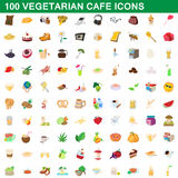 100 vegetarian cafe icons set, cartoon style. 100 vegetarian cafe icons set in cartoon style for any design vector illustration Royalty Free Stock Images