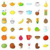 Vegetarian cafe icons set, cartoon style Stock Photography
