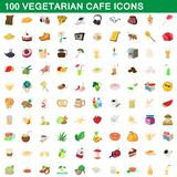 100 vegetarian cafe icons set, cartoon style. 100 vegetarian cafe icons set in cartoon style for any design illustration royalty free illustration