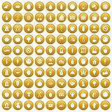 100 vegetarian cafe icons set gold. 100 vegetarian cafe icons set in gold circle isolated on white vector illustration Stock Illustration