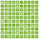 100 vegetarian cafe icons set grunge green Royalty Free Stock Photo