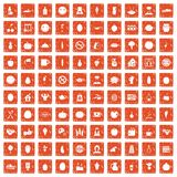 100 vegetarian cafe icons set grunge orange. 100 vegetarian cafe icons set in grunge style orange color  on white background vector illustration Stock Photos