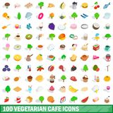 100 vegetarian cafe icons set, isometric 3d style. 100 vegetarian cafe icons set in isometric 3d style for any design illustration stock illustration