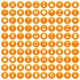 100 vegetarian cafe icons set orange. 100 vegetarian cafe icons set in orange circle isolated on white vector illustration stock illustration