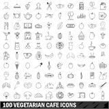 100 vegetarian cafe icons set, outline style. 100 vegetarian cafe icons set in outline style for any design vector illustration Royalty Free Stock Photo