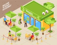 Vegetarian Cafe Outdoor Isometric Illustration Royalty Free Stock Image