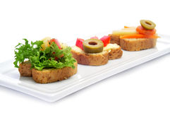 Vegetarian canapes Royalty Free Stock Image